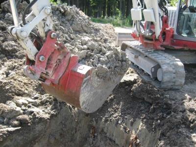 Grube für Abwasser wurde ausgehoben